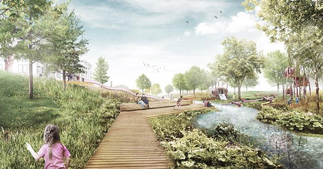 Kanalachse mit Bruchgraben und Wasserspielplatz
